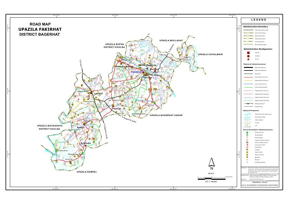 Fakirhat Upazila Road Map Bagerhat District Bangladesh