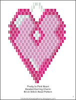 Free brick stitch Valentine's Day beaded earrings pattern.