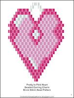 Free brick stitch Valentine's Day beaded earrings pattern.