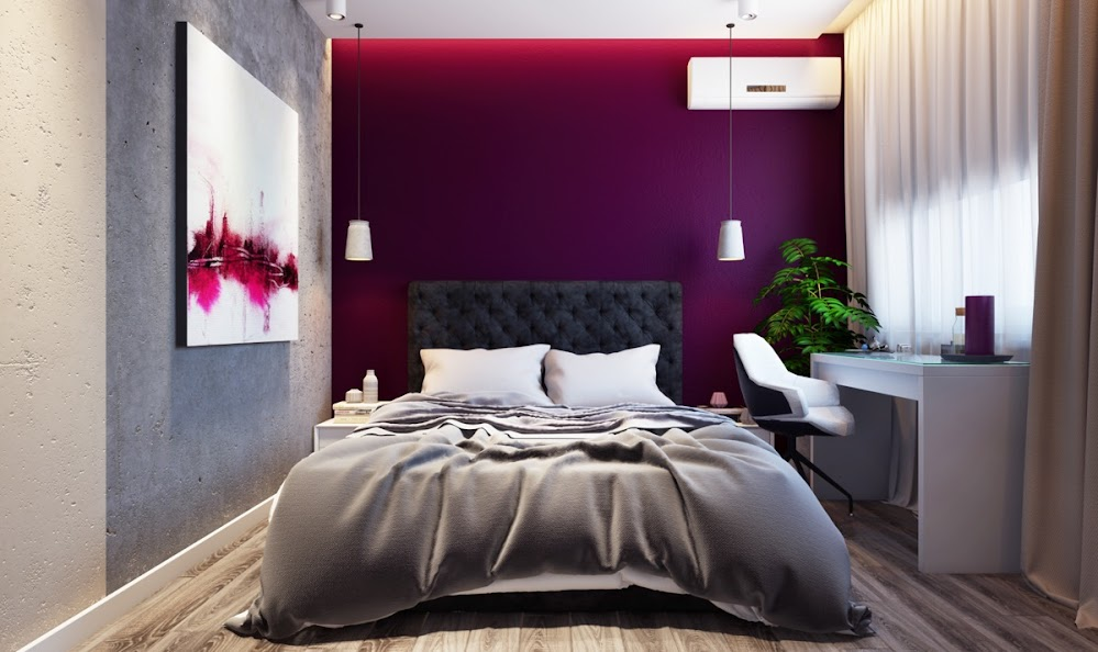 quilted-headboard-purple-accent-wall