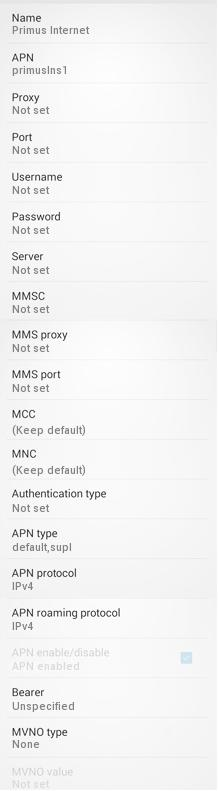 Primus APN Settings for Android