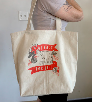 Cat Lady for Life canvas tote bag