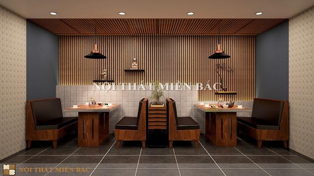 Không gian ăn chung trong thiết kế nhà hàng Nhật thật sang trọng với mẫu bàn gỗ hiện đại và những chiếc ghế sofa thời thượng