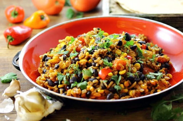 Mexican Fried Brown Rice #dinner #vegan