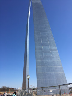 A view from near the St. Louis Arch, looking up toward the top.