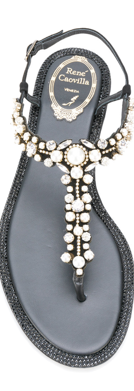 Rene Caovilla Black Embellished Sandals