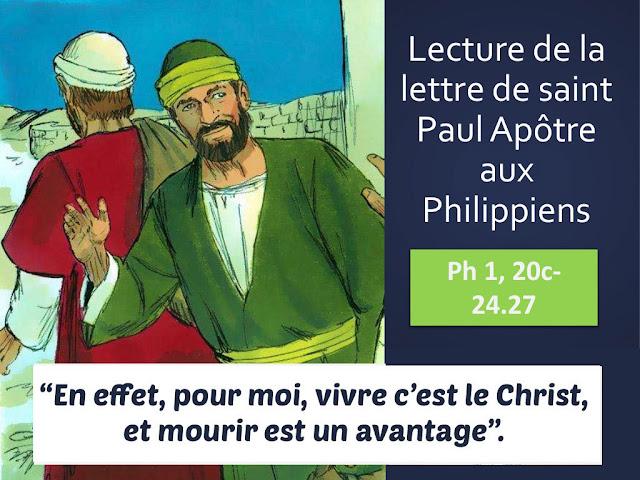 """Lettre de Saint Paul  """"Pour moi, vivre c'est le Christ"""""""