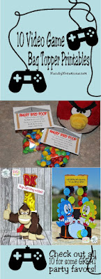 It's so easy to create a fun party favor treat with just a little candy, a bag, and a great printable bag topper.  If you are throwing and Arcade Video Game party or a Minecraft, Donkey Kong, Angry Bird party, you should definitely check out these 10 video game bag topper printables.