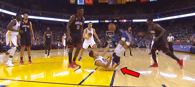 Steph Curry's Circus Sitdown Layup Won't Count (VIDEO)