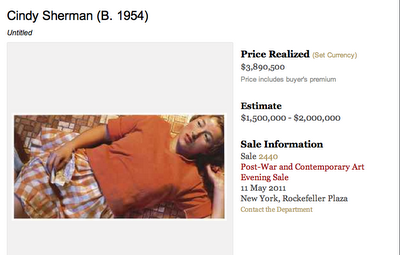 Cindy Sherman Sold for $3,890,500, Christie's, May 11, 2011
