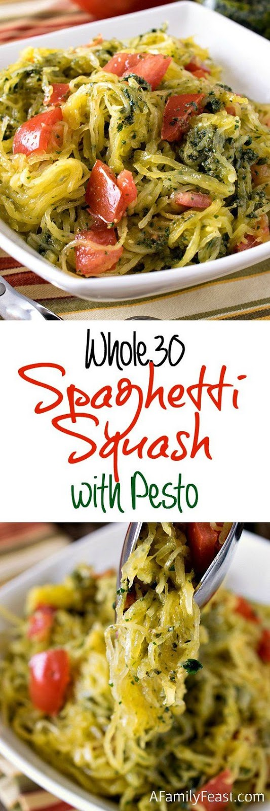whole30 spaghetti squash with pesto