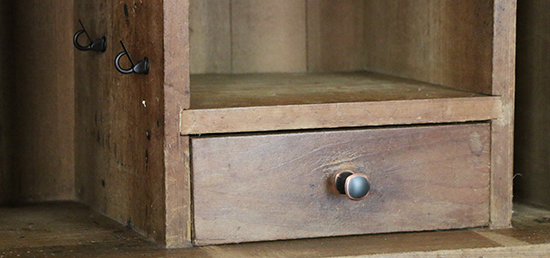 Interior Knob and Hooks on Writing Desk After Renovation