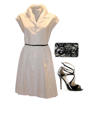 vestido camisero blanco + sandalias negras de charol + clutch de encaje taupe y negro