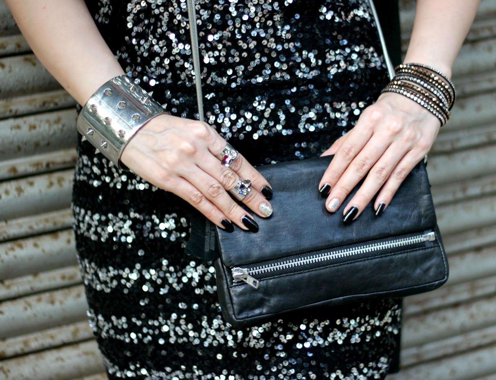Vero Moda Faux Leather Zipper Sling Bag, Spike hand cuff, Swarovski Slake Bracelet