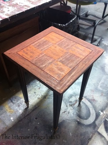 Neoclassical Side Table With Parquet Wood Top Before