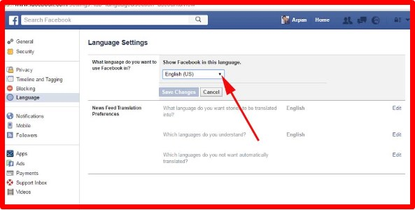how do you change language on facebook