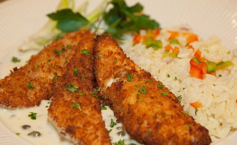 Honey Almond Pickerel Fillet with Veg Rice Pilaf