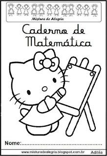 Capa caderno matemática Hello Kitty
