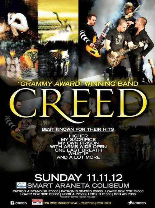 creed live in manila 2012 schedule ticket prices reyn 39 s room. Black Bedroom Furniture Sets. Home Design Ideas