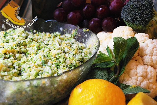 Tabule de coliflor, brocoli y cuscus de maiz sin gluten