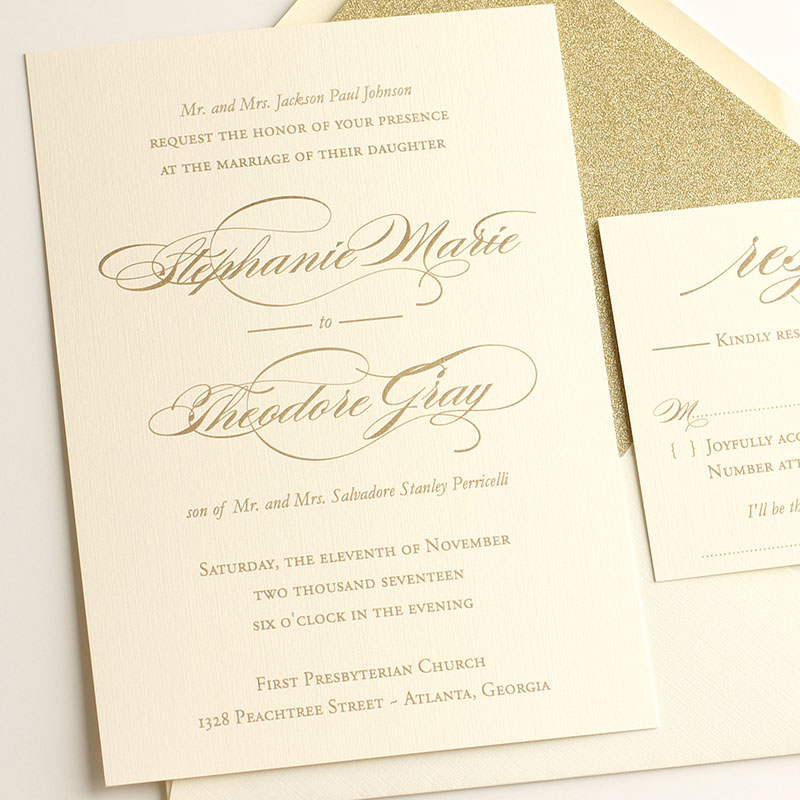 Timeless Wedding Invitation Suite Metallic Gold