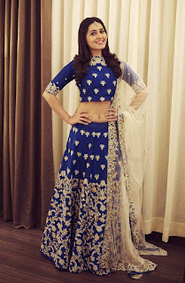 Raashi Khanna looks Stunning Glittering in Blue embroidered lehenga at Ritz Lifestyle Awards for Tifara
