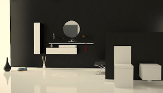 Baño color negro y blanco