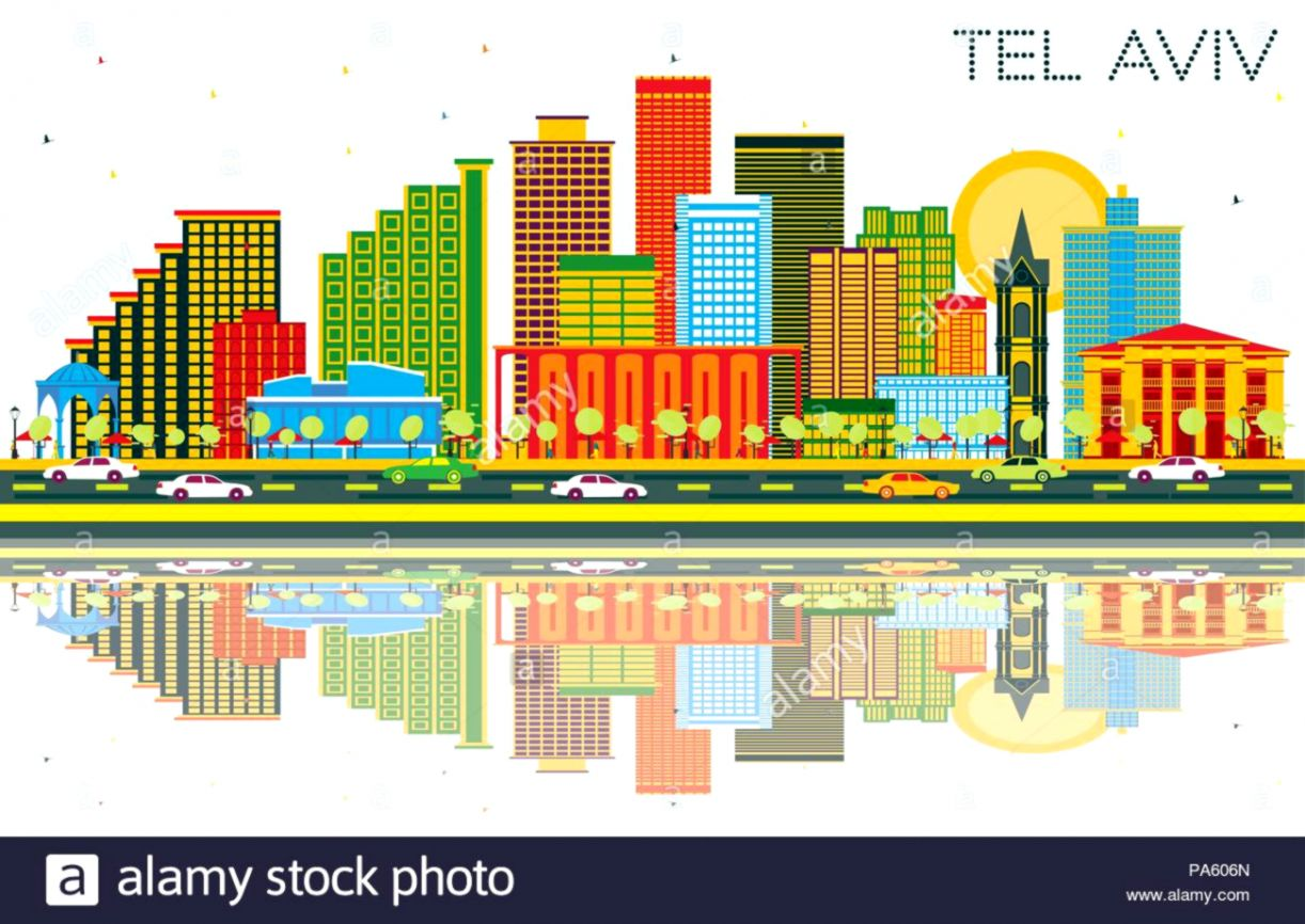 Tel Aviv Israel City Skyline with Color Buildings Blue Sky and