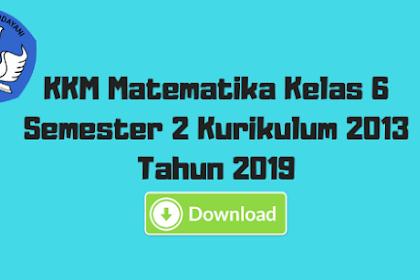 KKM Matematika Kelas 6 Semester 2 Kurikulum 2013 Tahun 2019