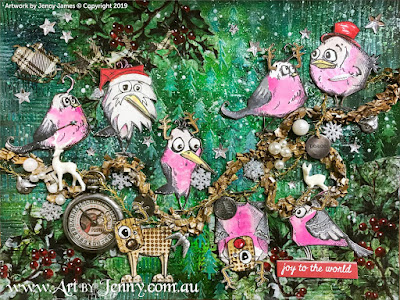 Finished Artwork of the Australian Galahs and their friends having a fancy dress party - mixed media art by Jenny James