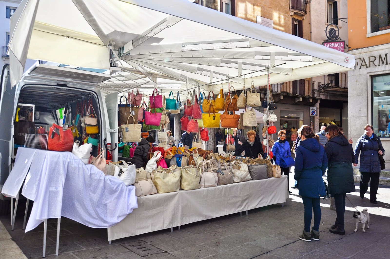 The bag stall at the Thursday market in Vicenza, Italy