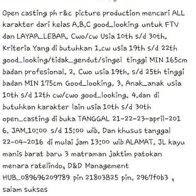 Open Casting Untuk FTV dan Layar Lebar