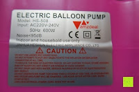Aufkleber: Amzdeal Luftballonpumpe Aufblasgerät 600 Watt Elektrische Ballonpumpe Luftballon Pumpe
