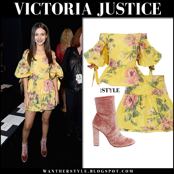 Victoria Justice in yellow floral off shoulder top, yellow floral mini skirt marchesa and velvet boots steve madden new york fashion week front row
