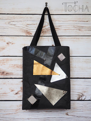 washpapa, kraft-tex, geometric, triangle, tote bag, vegan, vegan leather, paper tote, paper bag, craft paper, studs, Etsy, eco-fashion, eco-friendly, ethical fashion, vegan bag