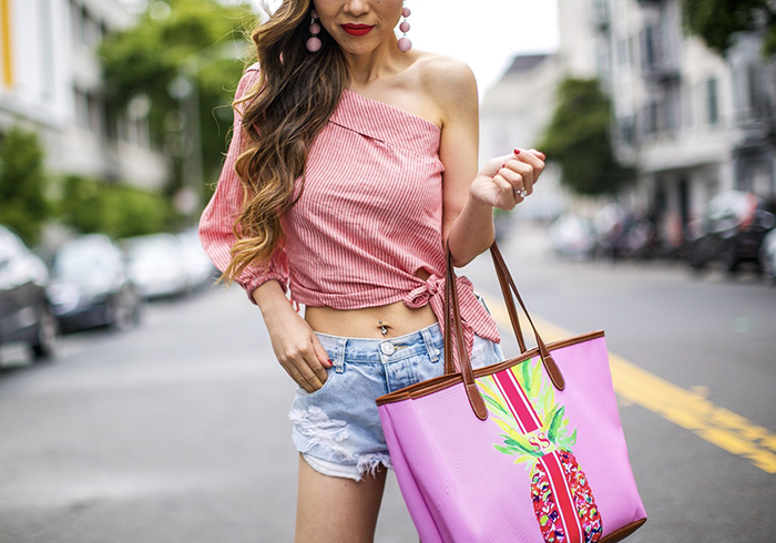 Free people get down one shoulder top, pink one shoulder top, barrington tote, one teaspoon shorts, baublebar earrings, pink sandals, san francisco street style, san francisco fashion blog, summer outfit ideas, vacation outfit ideas