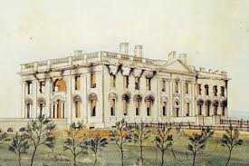 drawing of the President's Mansion after being burned by the British