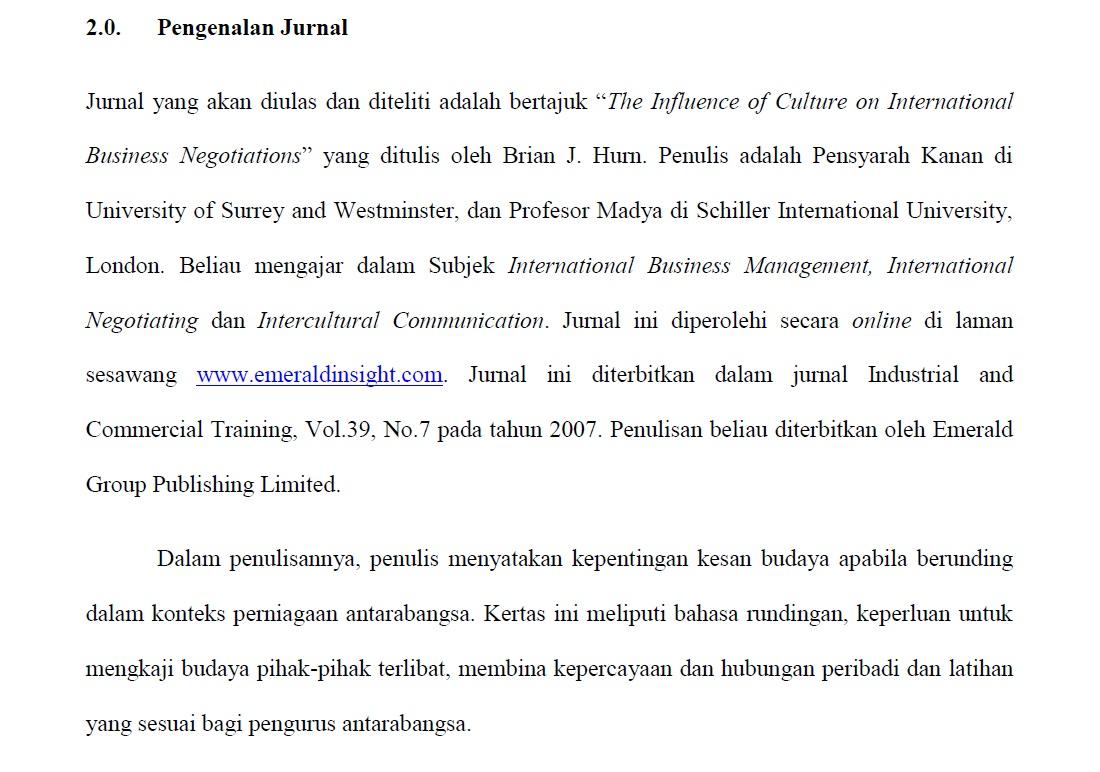 Pusat Rujukan Pjj Contoh Tugasan Ulasan Jurnal