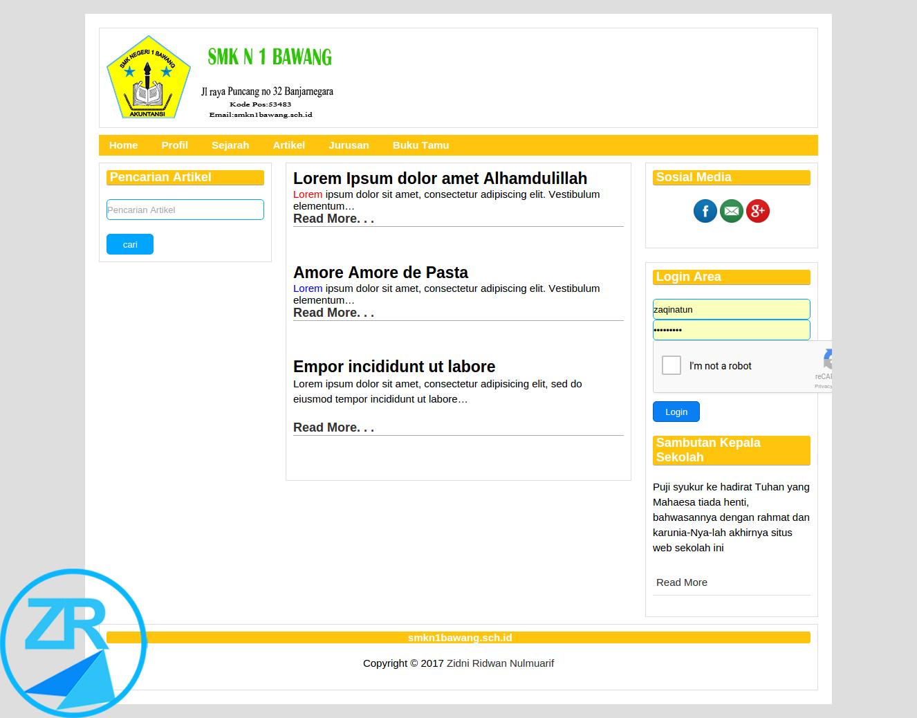 Source Kode Aplikasi Web Akademik Codeigniter - Zlearn