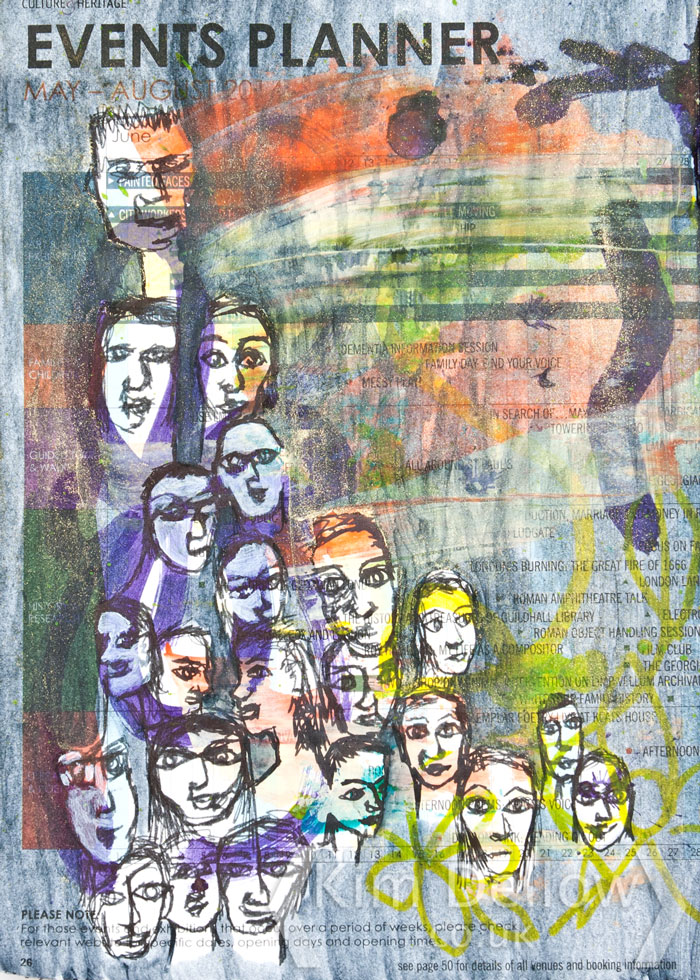 Sketches of face in a crowd from Kim Dellow
