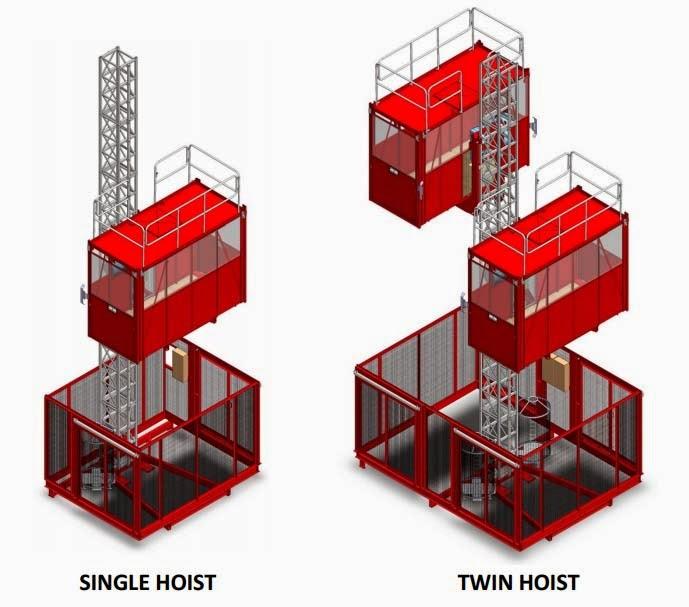 Passenger hoist single dan double cage