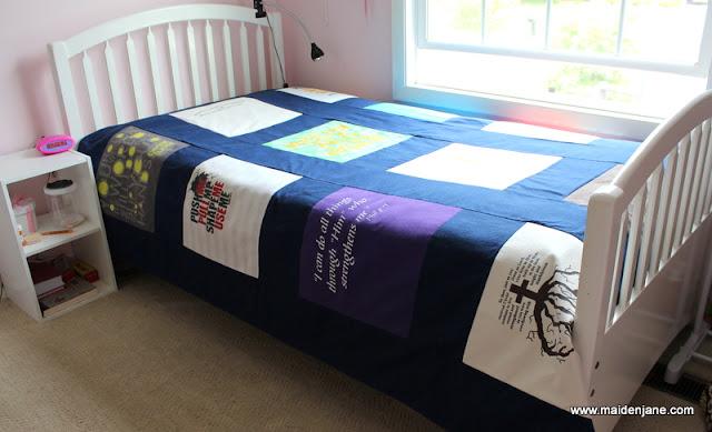 Custom T Shirt Quilt – Twin Bedspread Size