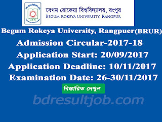 Begum Rokeya University(BRUR) Admission circular 2017-2018