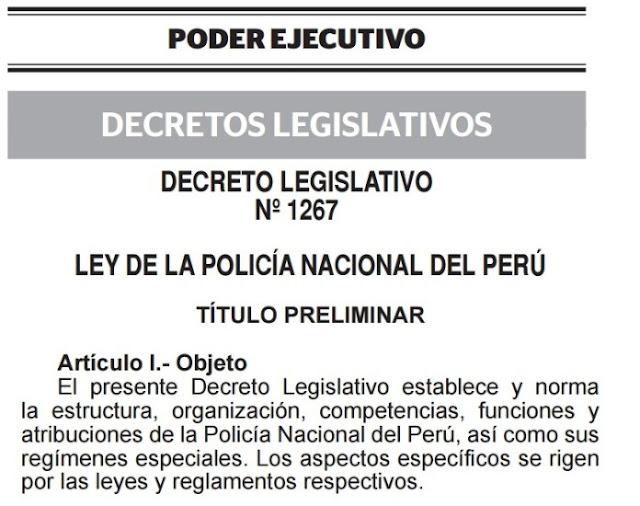 Aprueban nueva ley de la polic a nacional del per for Ley del ministerio del interior