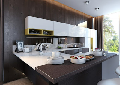 awesome open plan U kitchen planning