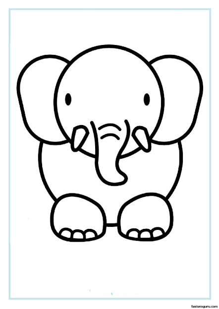 Printable Coloring Pages Elephants  Elephant Face Coloring Pages