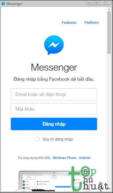 Thủ thuật tạo ứng dụng Messenger trên máy tính