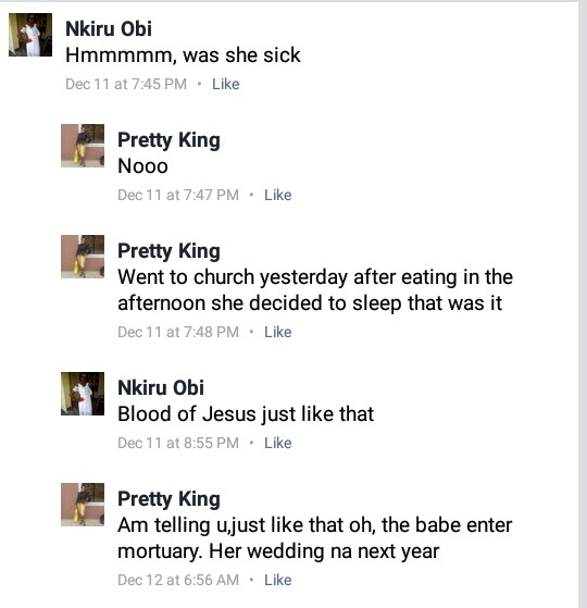 Photos: Nigerian bride-to-be returns from church, had lunch and died in her sleep
