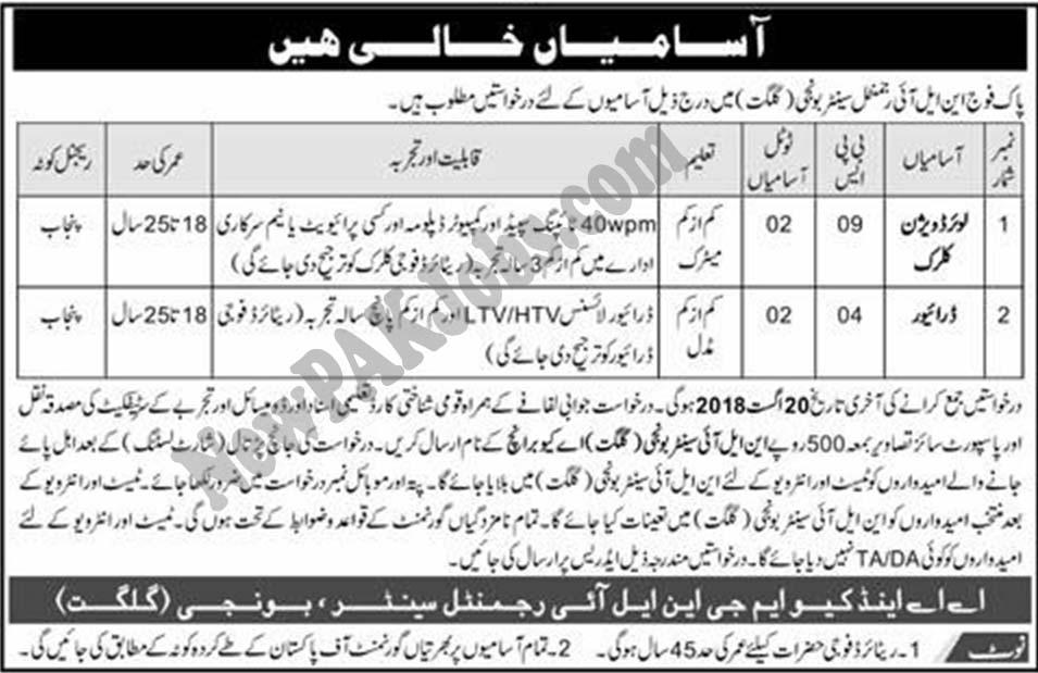 Gilgit Jobs 2018 under Pakistan Army NLI Regimental Center