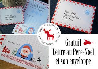 gratuit lettre au père-noël et son enveloppe à télécharger tête de coucou